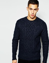 French Connection Crew Neck Cable Knit Jumper Marineblue