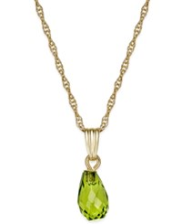 Macy's Peridot Briolette Pendant Necklace 1 3 4 Ct. T.W. In 14K Gold Yellow Gold