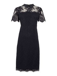 Linea Mixed Lace Collar Detail Shift Dress Navy