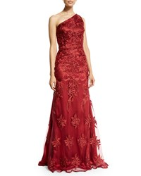 David Meister One Shoulder Lace Mermaid Gown Ruby