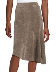 Ivanka Trump Asymmetrical Faux Suede Skirt Heather Taupe