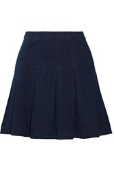 Diane Von Furstenberg Gemma Pleated Stretch Denim Mini Skirt Blue