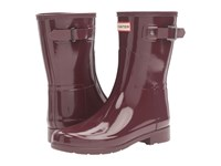Hunter Original Refined Short Gloss Dulse Women's Rain Boots Brown