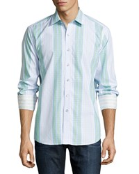 Robert Graham Kinvara Long Sleeve Striped Sport Shirt Light Blue