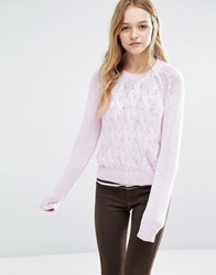 Rollas Rolla's Cable Knit Jumper Lilac Pink