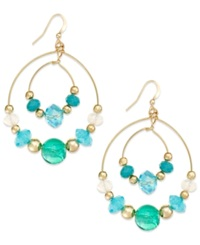 Style And Co. Gold Tone Blue Green Orbital Gypsy Bead Hoop Earrings