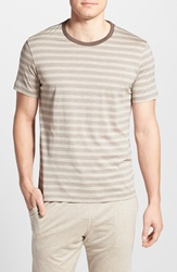 Daniel Buchler Silk And Cotton T Shirt Taupe Stripe