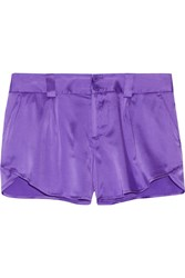 Alice Olivia Butterfly Silk Blend Satin Shorts Purple