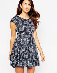 Closet Printed Cap Sleeve Dress Black