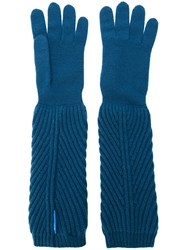 Moncler Ribbed Long Gloves Blue