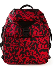 Alexander Mcqueen 'Tech' Leopard Print Backpack Red