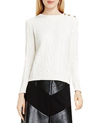 Vince Camuto Button Shoulder Cable Knit Sweater Antique White