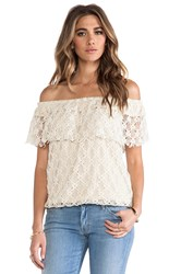 T Bags Off The Shoulder Lace Top Cream
