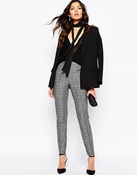 Mango Heritage Check Tailored Trouser Grey