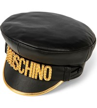 Moschino Leather Logo Hat Black