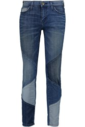 Current Elliott The Stiletto Patchwork Low Rise Skinny Jeans Blue