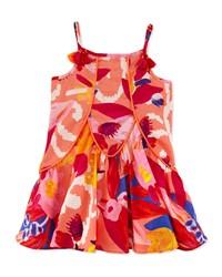 Catimini Sleeveless Pleated Floral Shift Dress Red