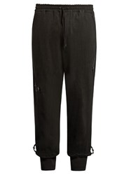 Y 3 Dropped Crotch Washed Cotton Jersey Track Pants Black