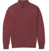Loro Piana Long Sleeved Cotton Polo Shirt Red