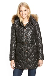Marc New York 'Kava' Faux Fur Trim Quilted Down And Feather Fill Drawstring Parka Black