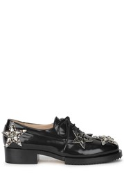 No.21 Crystal Star Appliqued Leather Oxford Shoes Black