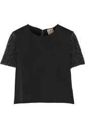 Haute Hippie Cropped Embellished Crepe Top Black