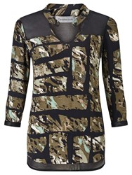 Calvin Klein Wadune All Over Print Tunic Top Torn Camo Olive