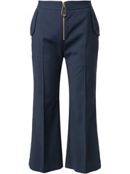 Tanya Taylor Front Zip Trousers Blue