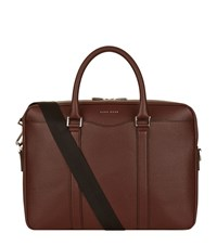 Boss Signature Leather Briefcase Unisex Red