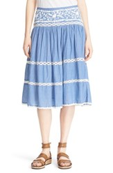 Women's Joie Embroidered Chambray Skirt