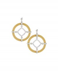 Alor Classique Pave Diamond Circle Drop Earrings Yellow