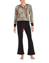 Betsey Johnson Two Piece Fleece Pajama Set Natural Leopard Black