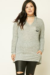 Forever 21 Plus Size Gypsy Love Hoodie Heather Grey Black