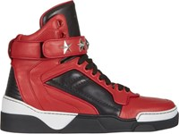 Givenchy High Top Star Ankle Strap Sneakers Red