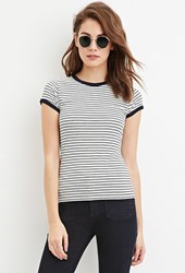 Forever 21 Classic Striped Tee Navy Cream