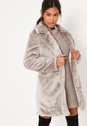 Missguided Grey Oversized Collar Faux Fur Coat Mink