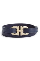 Men's Salvatore Ferragamo Leather Wrap Bracelet Marine Gold