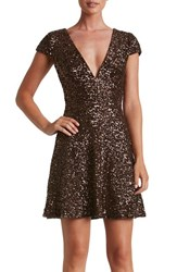 Dress The Population Women's Georgina Sequin Fit And Flare Chocolate
