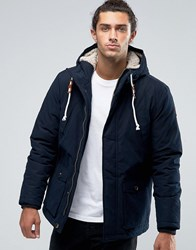 Esprit Parka With Borg Lined Hood Navy Black
