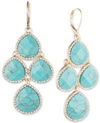 Anne Klein Gold Tone Pave Colbalt Blue Crystal Chandelier Earrings Teal