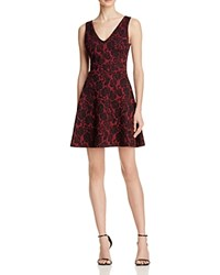 Aqua Rose Jacquard V Neck Dress Burgundy Black