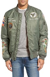 Schott Nyc Men's Souvenir Ma 1 Flight Jacket Sage
