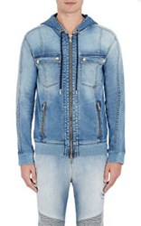 Balmain Men's Zip Front Hooded Jacket Light Blue