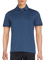 Saks Fifth Avenue Black Printed Cotton Polo Navy Lavender