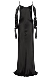 Juan Carlos Obando Amalfi Draped Silk Satin Gown Black