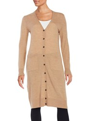 Lord And Taylor Merino Wool Long Cardigan Classic Camel Heather
