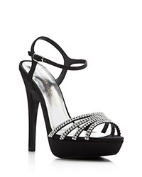 Caparros Belle Rhinestone Platform High Heel Sandals Black Clear
