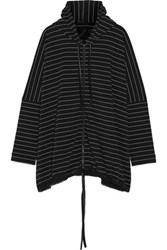Norma Kamali Oversized Striped Stretch Cotton Hooded Coat Black
