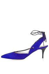 Topshop Jupiter Mid Heel Ghillie Shoes Blue