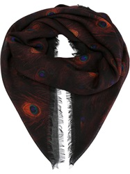 Givenchy Peacock Feather Print Scarf Black